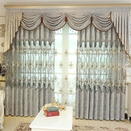 European Style Light Gray Embroidered Flowers 2 Panels Custom Living RoomCurtain