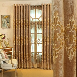 Elegant and Concise European Style 2 Panels Embroidered Flowers Grommet Top Curtain