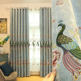 Creative Light Green Embroidered Peacocks 2 Panels Custom Living Room Curtain
