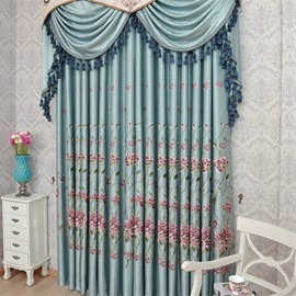 European Style Light Blue Chenille Custom Living Room Grommet Top Embroidered Curtain
