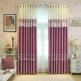 Romantic Purple with White Lace Princess Style 2 Panels Grommet Top Curtain