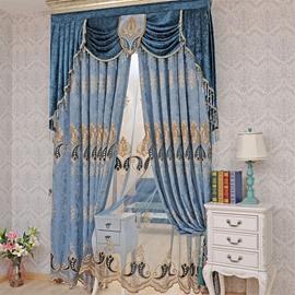 European ans Noble Navy Blue Chenille Custom Window Curtain for Living Room