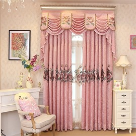 European Romantic Pink Embroidered Flowers 2 Panels Decorative Living Room Window Drape