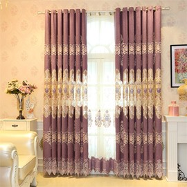 Elegant and Noble Purple Hollow Embroidered 2 Panels Custom Living Room Curtain