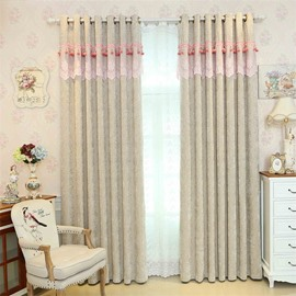 Modern and Concise Style Thick Chenille Custom Grommet Top Curtain for Living Room