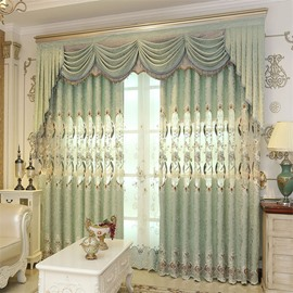 European ans Elegant Chenille Light Green Hollow out Custom Grommet Top Curtain