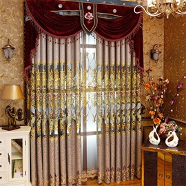 European Splendid Dark Brown Chenille Decorative and Blackout Grommet Top Curtain