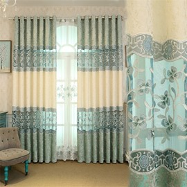 European Style Fresh Light Blue Embroidered Flowers Custom Living Room Curtain
