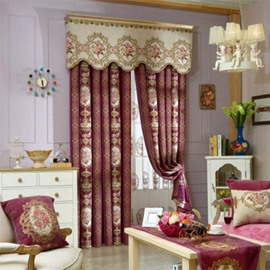 Noble Dark Red with Embossed Flowers 2 Panels Curtain for Living Room