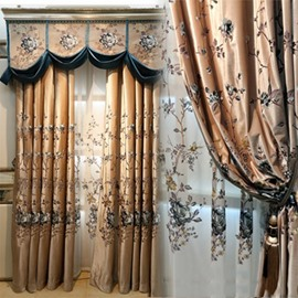 Golden Silk Materials with Black Flowers 2 Panels Grommet Top Curtain for Living Room