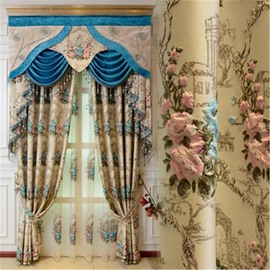 European Style Embossed Embroidered Flowers 2 Panels Grommet Top Living Room Curtain