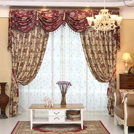 Elegant High Quality Double Side Jacquard Effect Curtain Panels For Living Room