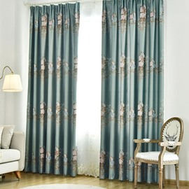 European Elegant Green with Flowers Smooth Polyester 2 Panels Living Room Custom Curtain
