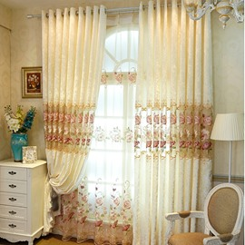 Elegant Beige Embroidered Ponies Thick Polyester 2 Panels Grommet Top Curtain