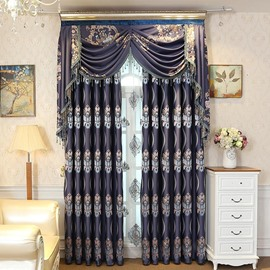 European and Elegant Style Dark Blue High Quality Jacquard Embroidery Floral Grommet Top Curtain