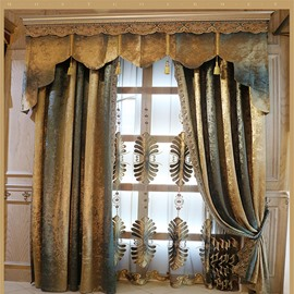 European and Elegant High Quality Chenille Embroidered Flowers Decorative and Blackout Curtain for Living Room