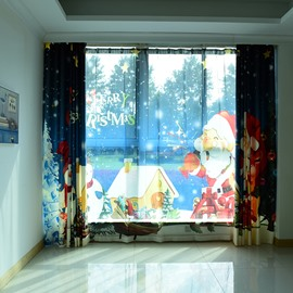 3D Santa Claus Pattern Custom Cotton and Linen Blue Grommet Top Curtain with Sheer
