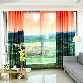 3D Grassland and Sunset Pattern Custom Cotton and Linen Green Grommet Top Curtain with Sheer