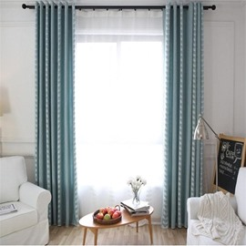 Simple Vine Pattern Blue Modern Home Decoration Grommet Top Curtain