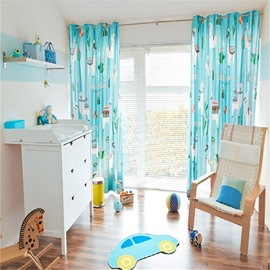 Decoration Lovely Style Alpaca and Cactus Pattern Custom Polyester Grommet Top Curtain