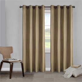 Concise and Simple Style Pure Colored Pinstripe Blackout 2 Panels Living Room Curtain