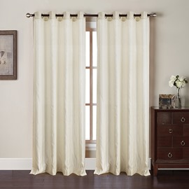 Concise and Fresh Style Beige Sunlight Shading Polyester Living Room Blackout Curtain Set
