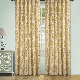Floral Printing 2 Pieces Drapery Panels Bedroom Darkening Perforated Curtain