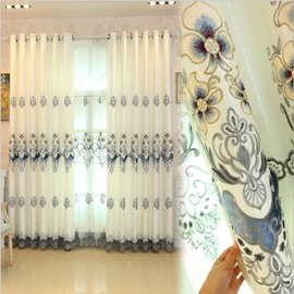 Decoration Feature Biparting Open Mode Plant Pattern Polyester Material Curtain Sets