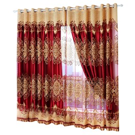 Blackout Feature Royal Style Plant Pattern Polyester Material Curtain Sets