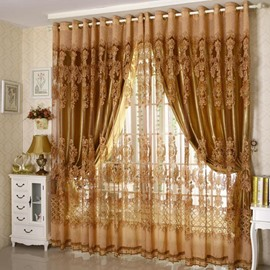 Polyester Material Jacquard Technics Royal Style Curtain Sets