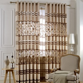 European Style Beige Pattern Shading Sheer Beads Curtain