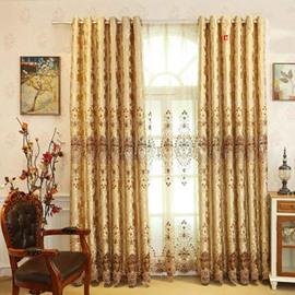 Polyester Elegant Luxury Style Goldern Pattern Shading Curtain