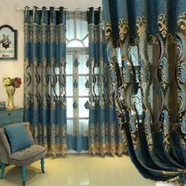 Blue Elegant Luxury Palace Style Shading Curtain