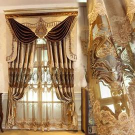 Luxury Style Gorgeous Goldern Pattern Shading Curtain