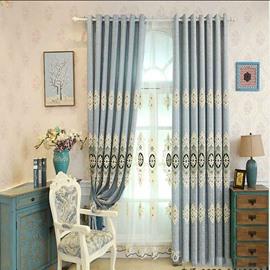 Elegant Palace Style Blue Pattern Shading Curtain