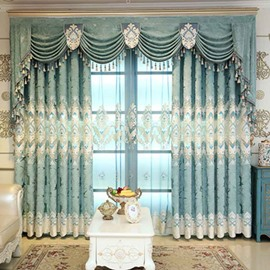 Blue Floral Jacquard Chenille Elegant Palace Style Shading Grommet Curtain
