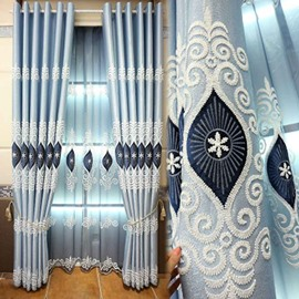 Blue Pattern Palace Style Polyester Shading Curtain