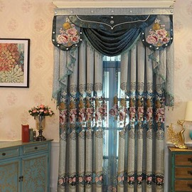 Palace Style Blue Large Floral Pattern Shading Curtain