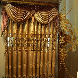 Goldern Classical Pattern Gorgeous Style Shading Curtain