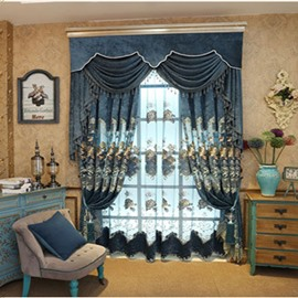 Dark Blue European style Room Darkening Curtain