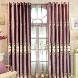 Purple Floral Pattern Elegant Style Room Darkening Curtain