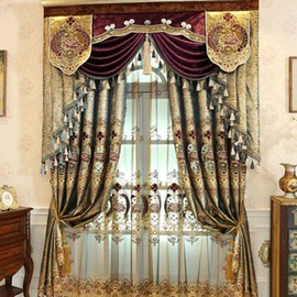 Brown Gorgeous Style Luxury Goldern Pattern Shading Curtain