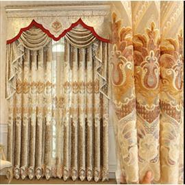 Yellow Floral Pattern Elegant Palace Style Room Darkening Curtain