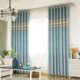 Blue Floral Pattern Room Darkening Polyester Curtain