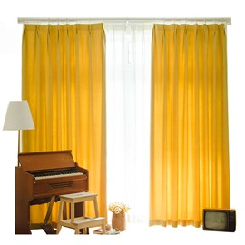Mustard Yellow Country Style Room Darkening Polyester Curtain