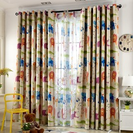Polyester Noise Reducing Shading Cute Animal Pattern Kids Curtain