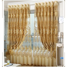 Exquisite Elegant Golden Embroidery Grommet Top Curtains