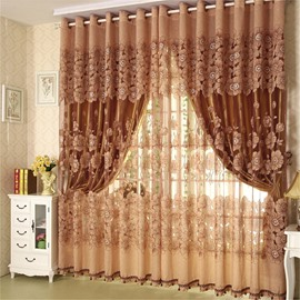 Luxury Solid Bronze Curtain Sets Sheer and Lining Blackout Curtain for Living Room Bedroom Decoration