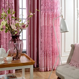 Pink Rose Floral Pattern Room Hand-made Polyester Curtain