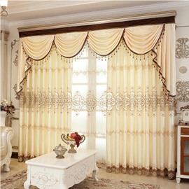 Europe Type Sitting Room Light Yellow Hand-made Embroider Curtain